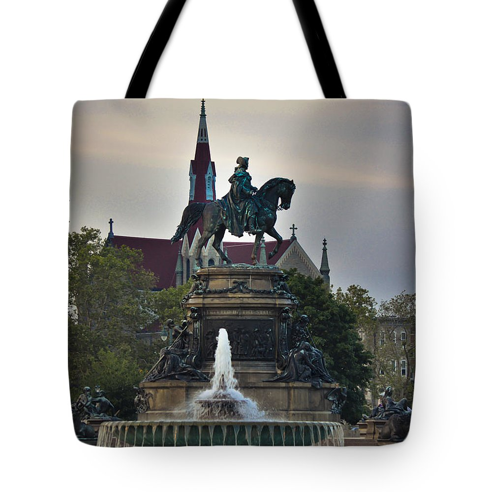 Philadelphia Tote Bag featuring the mixed media Fountain At Eakins Oval by Trish Tritz