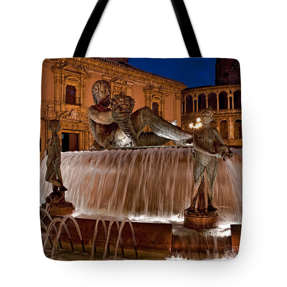 Spain Tote Bag featuring the photograph Fountain By Night by Christine Czernin Morzin
