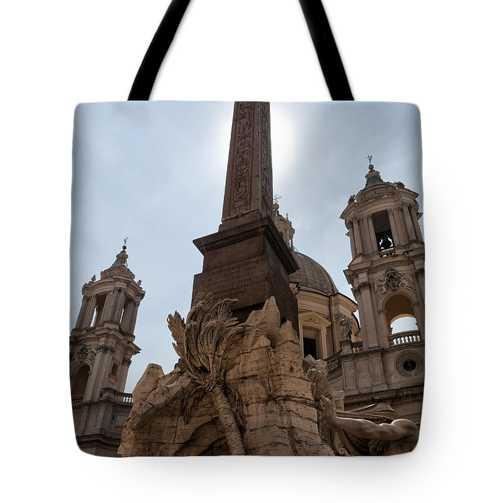 Ancient Tote Bag featuring the photograph Fountain Of Four Rivers By Bernini by Melany Sarafis