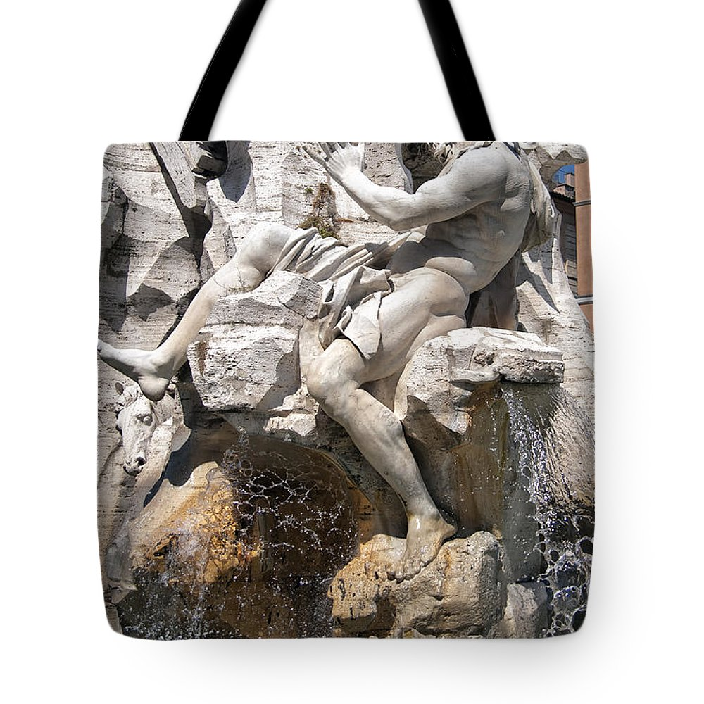 Ancient Tote Bag featuring the photograph Fountain Of Four Rivers by Melany Sarafis