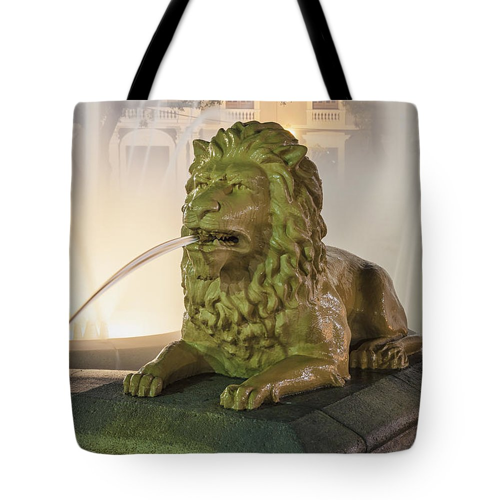 Animal Representation Tote Bag featuring the photograph Fountain Of The Lions At Plaza Las Delicias In Puerto Rico by Bryan Mullennix