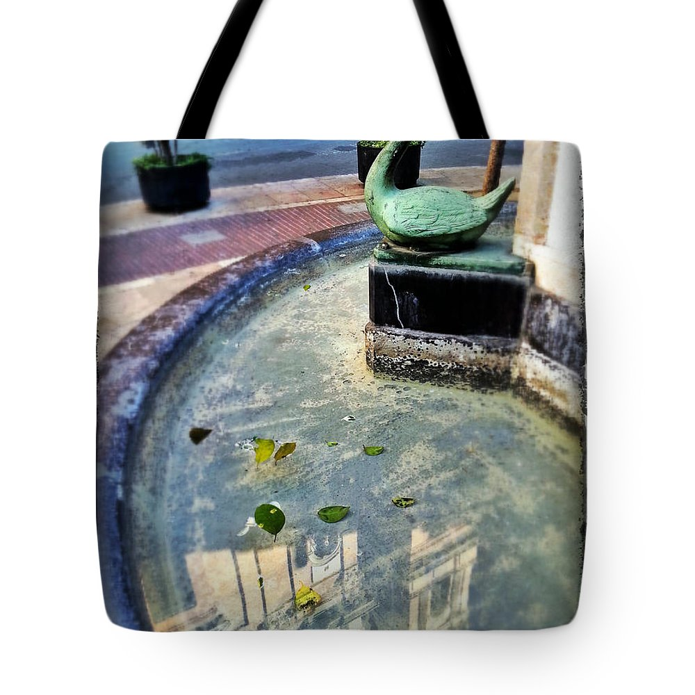 Swan Tote Bag featuring the photograph Fountain Swan Valancia by For Ninety One Days