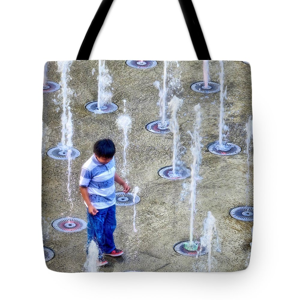 Boy Tote Bag featuring the photograph Fountains Of Youth by Jennie Breeze
