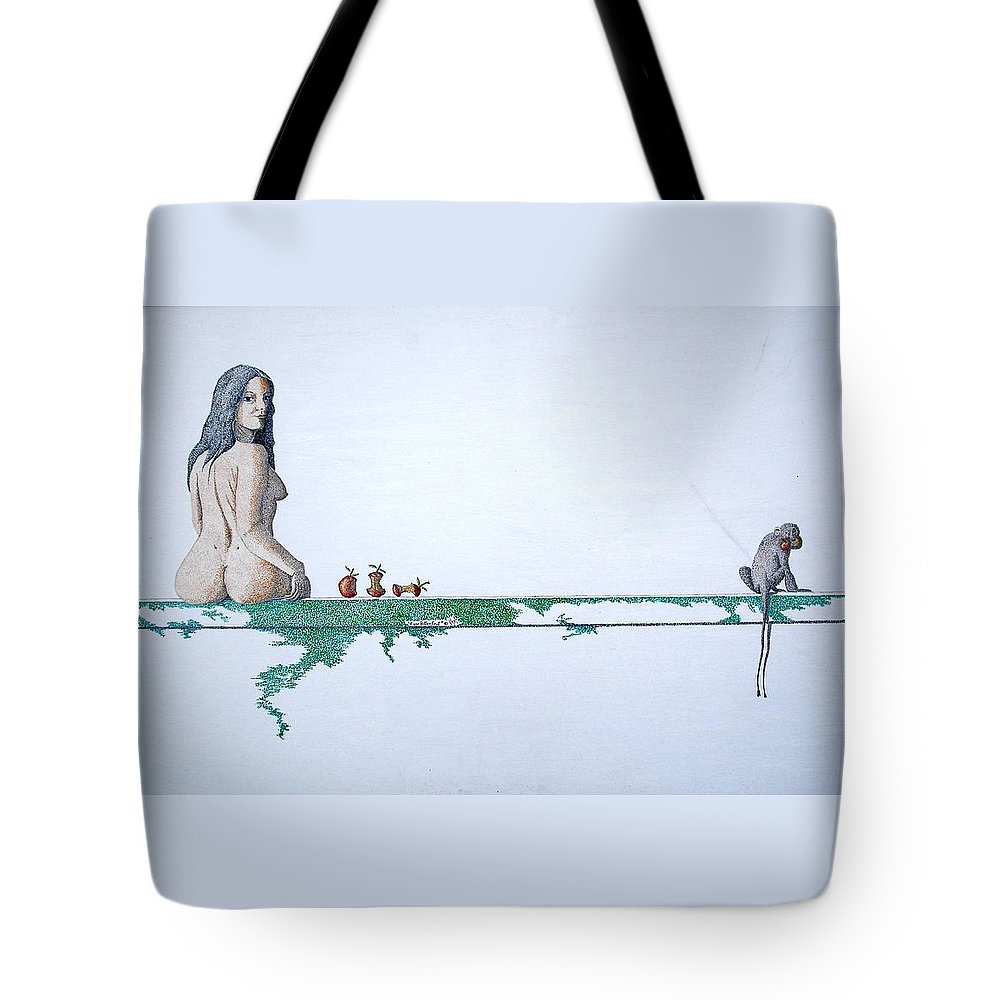 Female Figure Tote Bag featuring the painting Four Bitten Fruit by A Robert Malcom