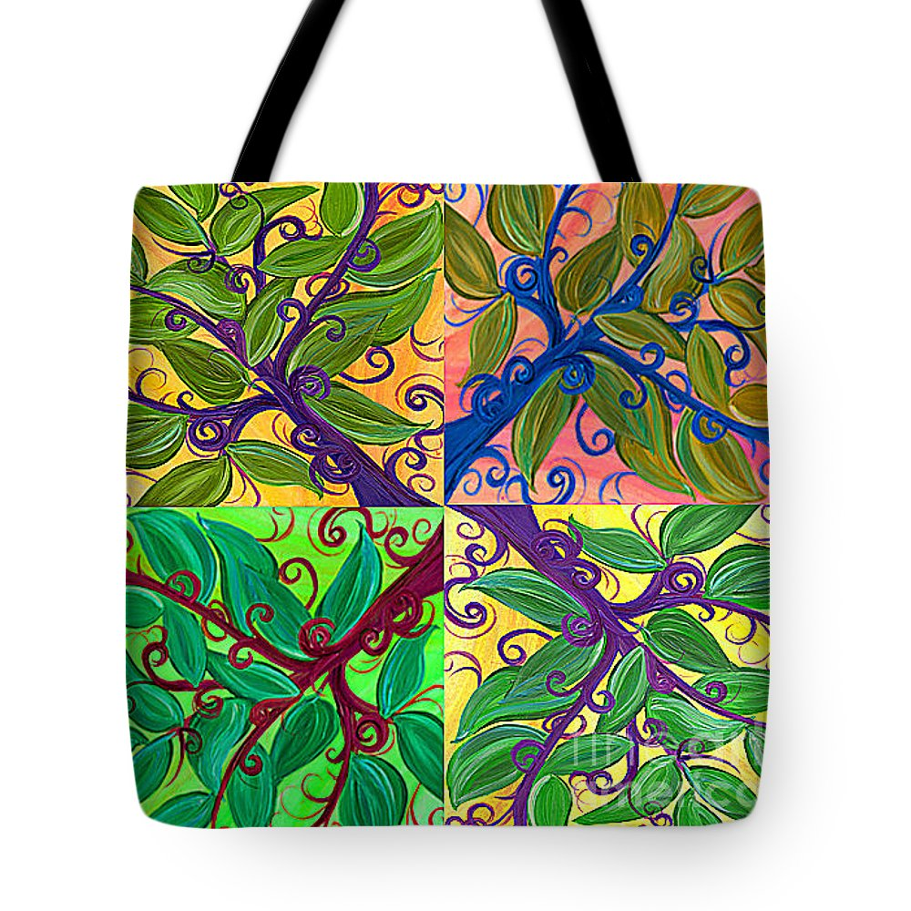 First Star Tote Bag featuring the painting Four Branches By Jrr by First Star Art