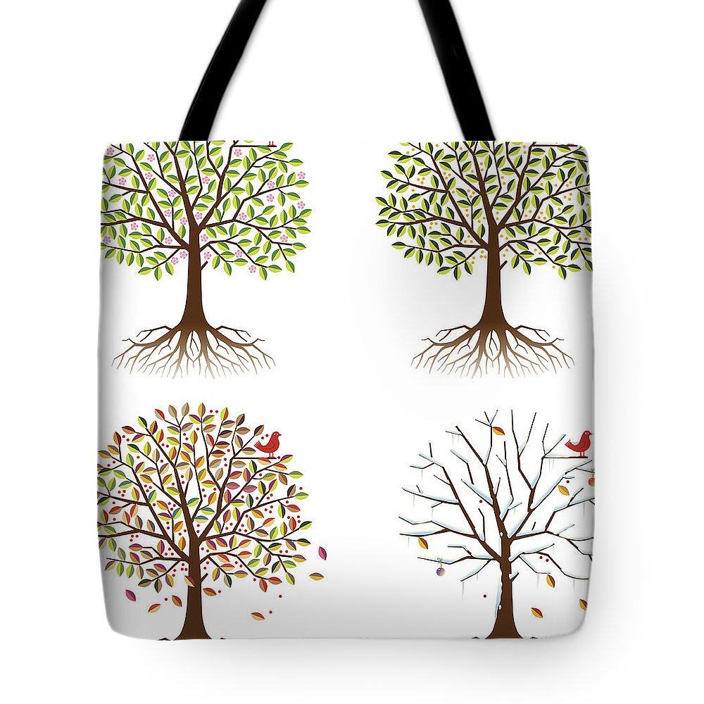 Environmental Conservation Tote Bag featuring the digital art Four Seasons In One Tree by Johnwoodcock
