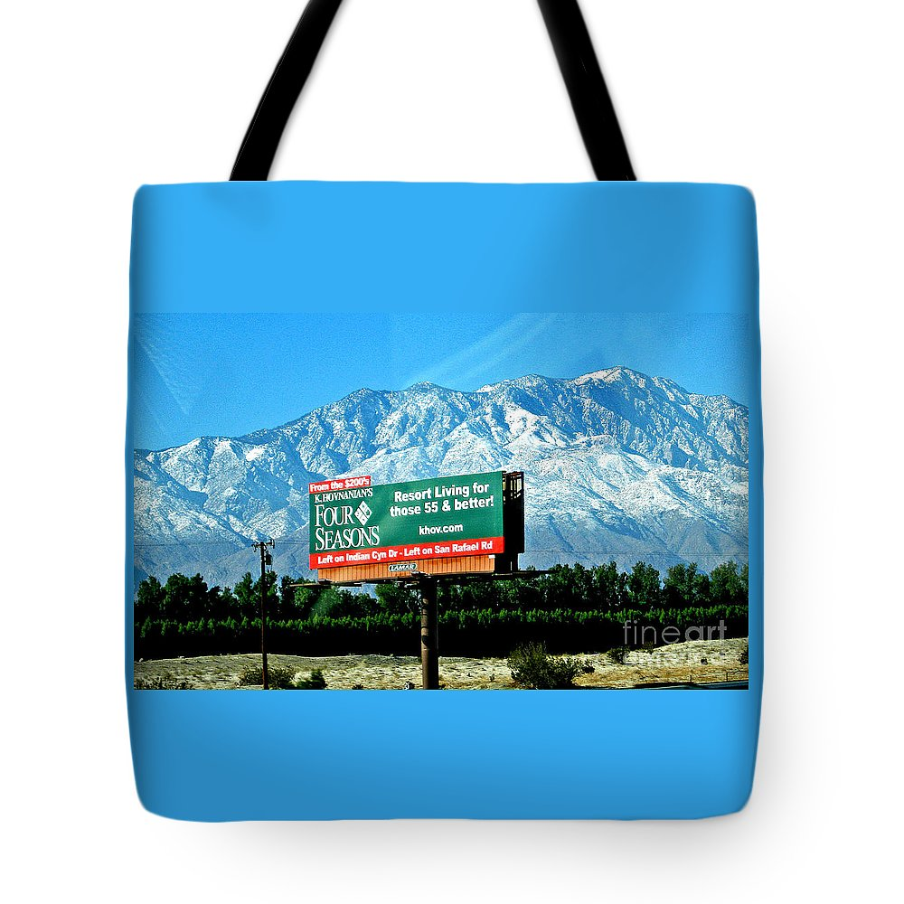 Sign Four Season Resort Tote Bag featuring the photograph Four Seasons by Jay Milo