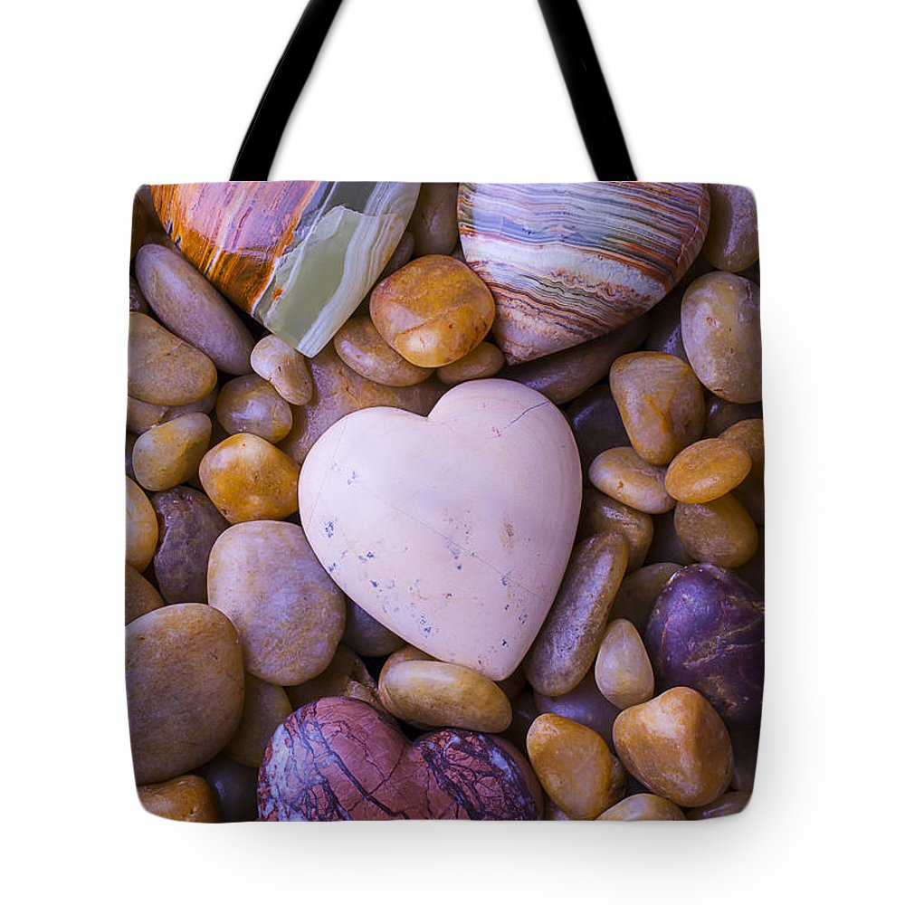 Heart Hearts Tote Bag featuring the photograph Four Stone Hearts by Garry Gay