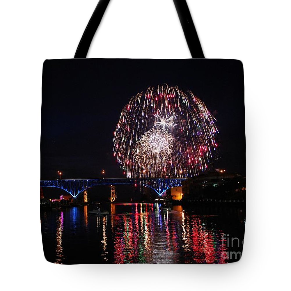 4th Of July Tote Bag featuring the photograph Fourth Of July In Cleveland by Rachel Barrett
