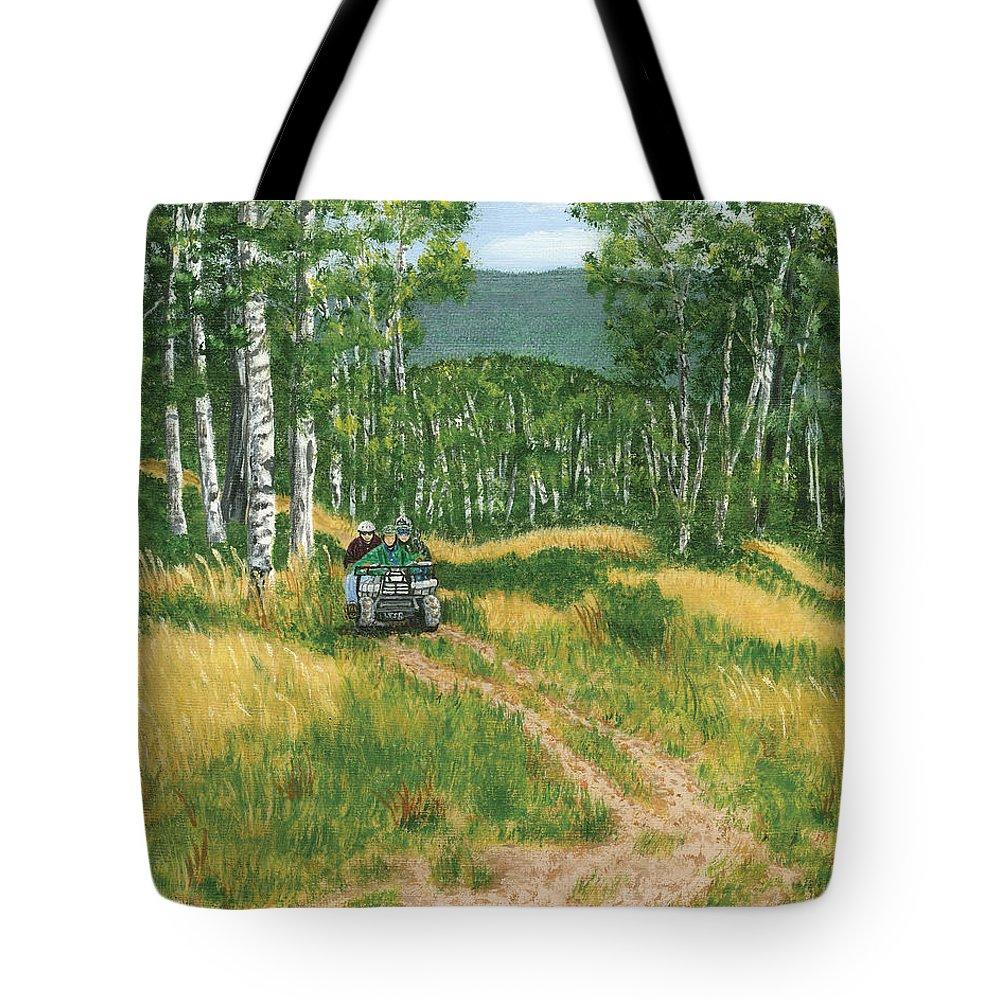 Four Wheeling Tote Bag featuring the painting Fourwheeling In Alaska by Lucinda V VanVleck
