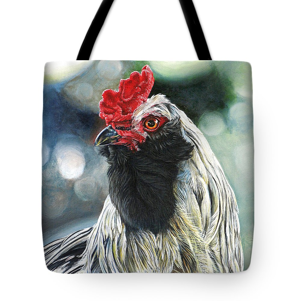 Fowl Tote Bag featuring the painting Fowl Martyr by Cara Bevan