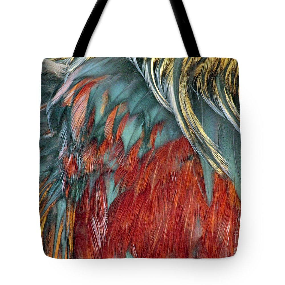 Chicken Feathers Tote Bag featuring the photograph Fowl Play by Joe Jake Pratt