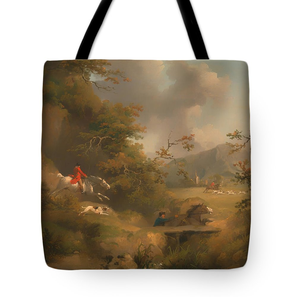 Painting Tote Bag featuring the painting Fox Hunting In Hilly Country by Mountain Dreams