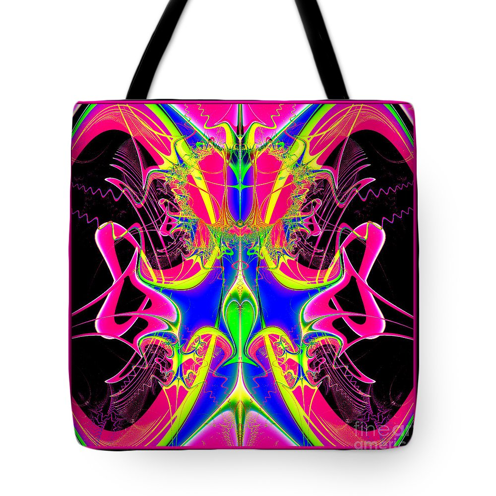 Cacophony Tote Bag featuring the digital art Fractal 15 Color Cacophony by Rose Santuci-Sofranko