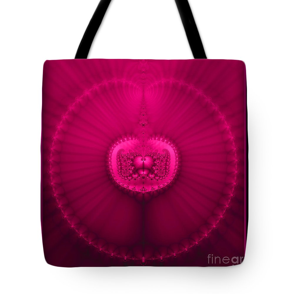 Jewels Tote Bag featuring the digital art Fractal 20 Jeweled Medallion by Rose Santuci-Sofranko