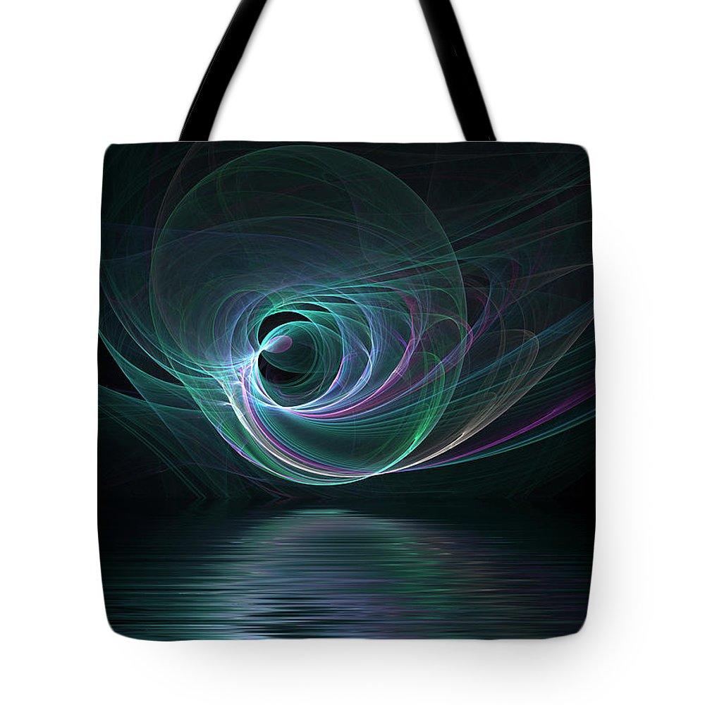 Fractal Tote Bag featuring the digital art Fractal Lake by Barbara Milton