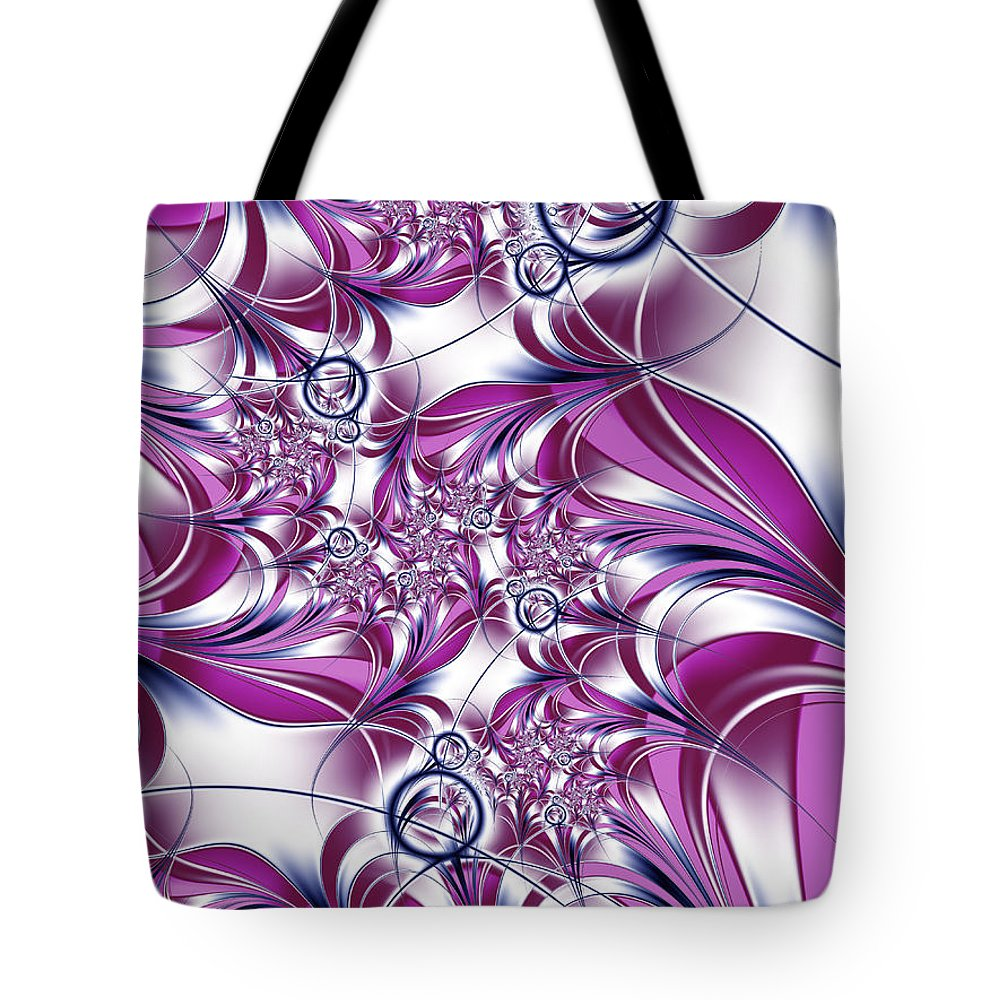 Fractal Tote Bag featuring the digital art Fractal Pink Plant by Gabiw Art