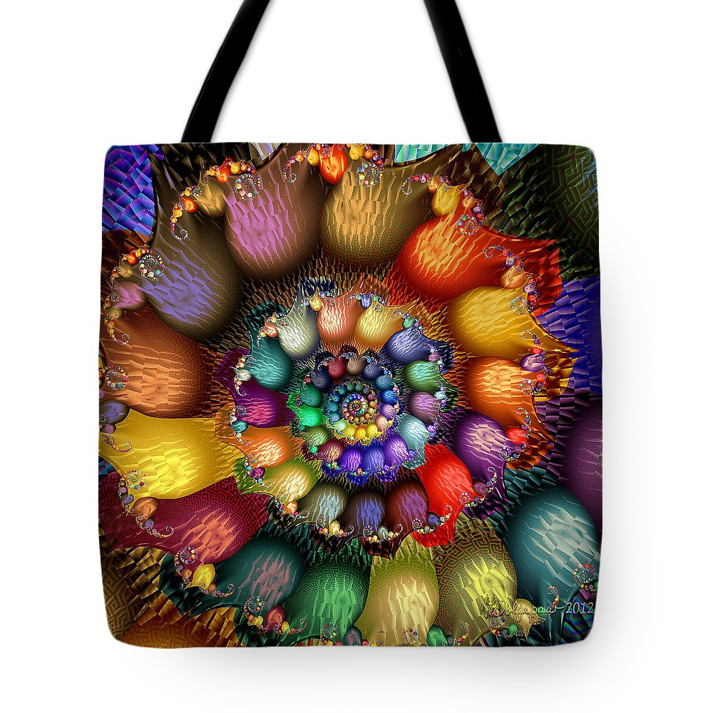 Abstract Tote Bag featuring the digital art Fractal Textured Spiral by Peggi Wolfe