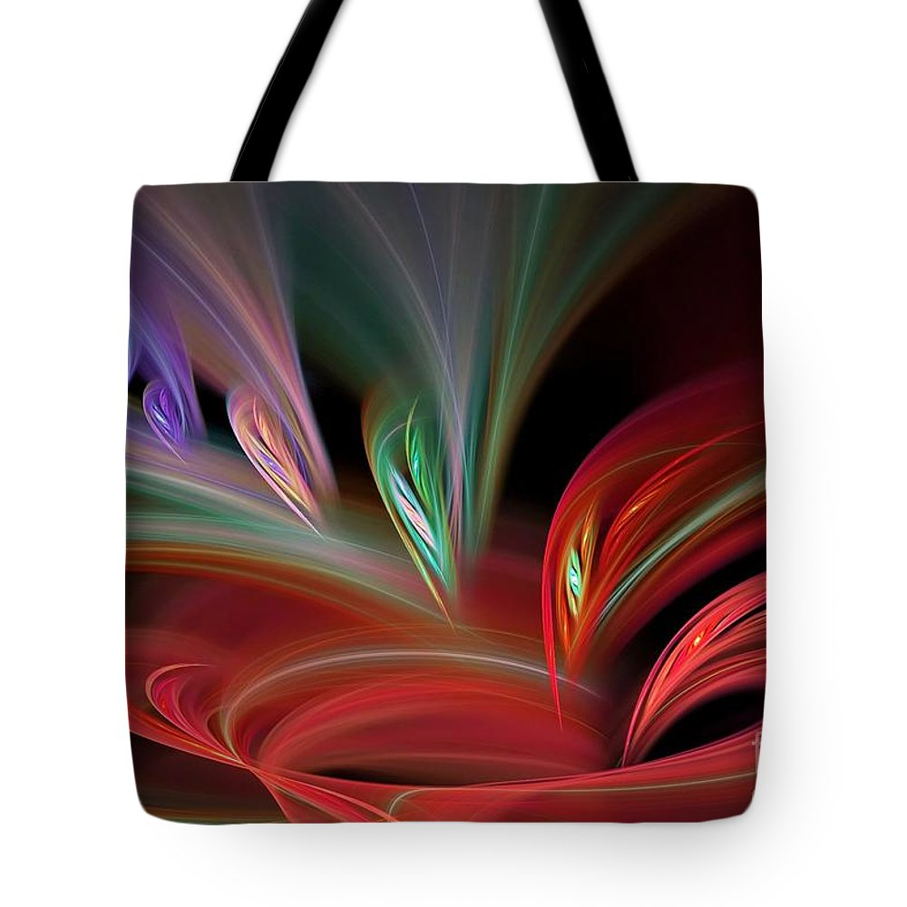 Abstract Tote Bag featuring the digital art Fractal Vortex Swirl by Brian Raggatt