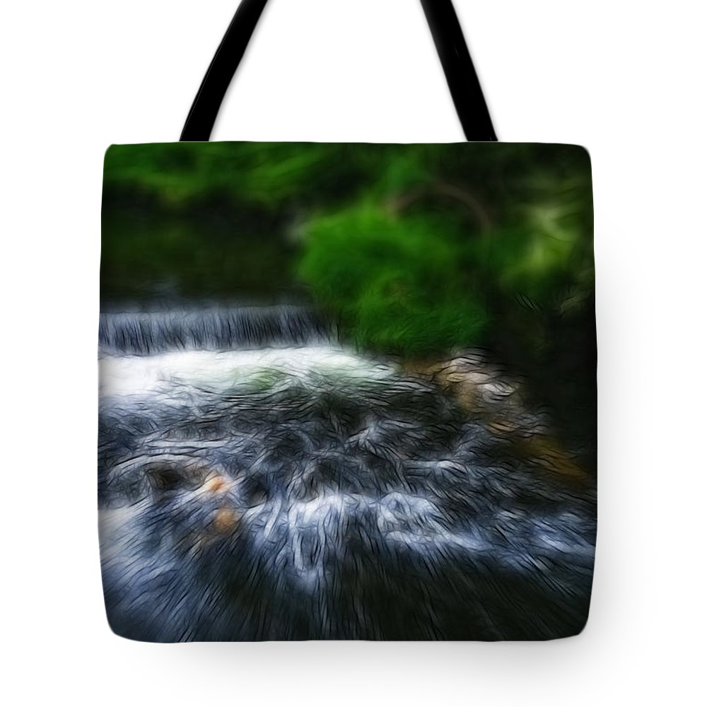 Bakewell Tote Bag featuring the photograph Fractalius - River Wye Waterfall - In Peak District - England by Doc Braham