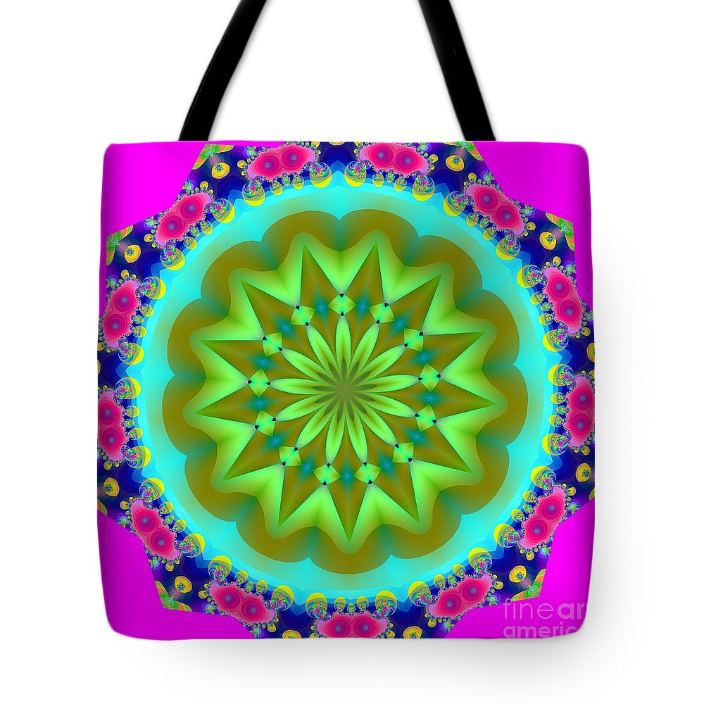Fractals Tote Bag featuring the digital art Fractalscope 28 by Rose Santuci-Sofranko