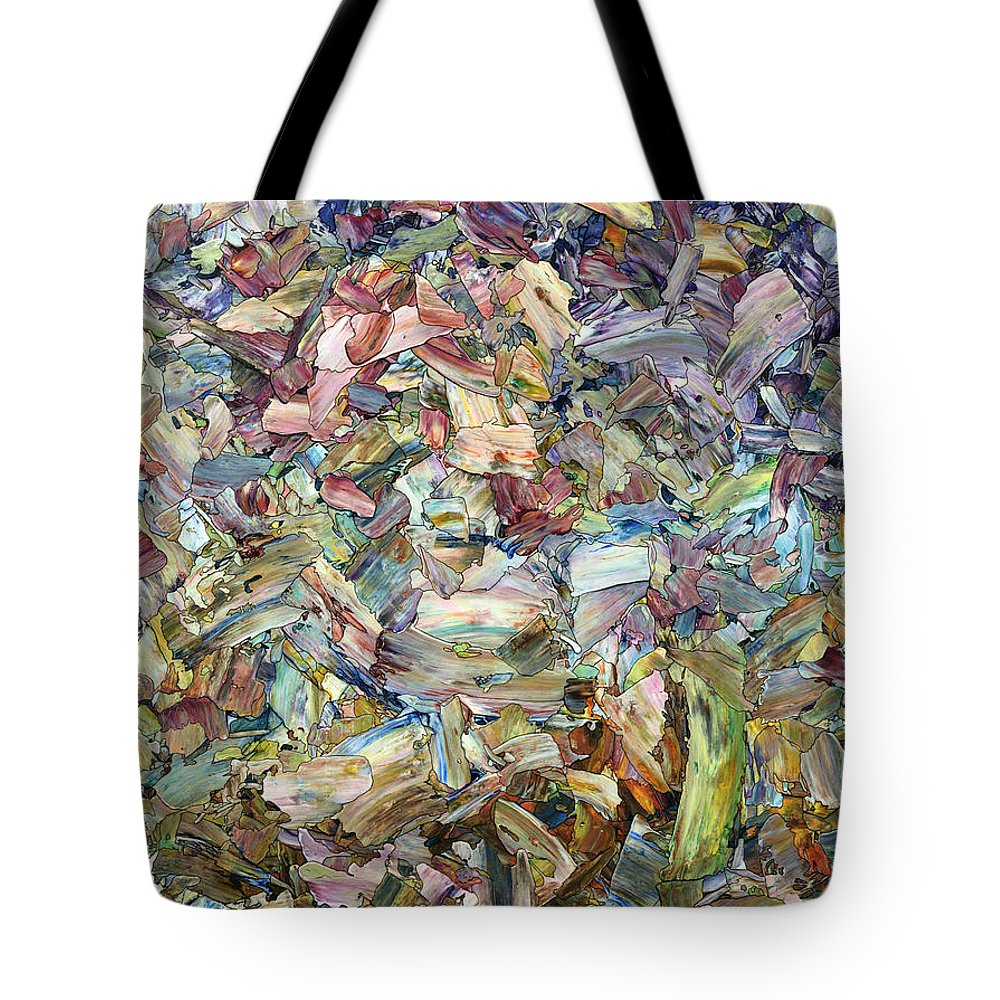 Abstract Tote Bag featuring the painting Roadside Fragmentation by James W Johnson