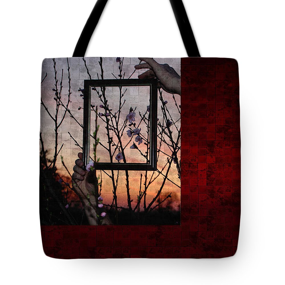 Tree Tote Bag featuring the photograph Framed Cherry Blossoms - Featured In Comfortable Art And Nature Groups by Ericamaxine Price