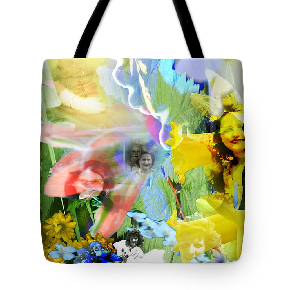 Colorful Tote Bag featuring the digital art Framed In Flowers by Cathy Anderson