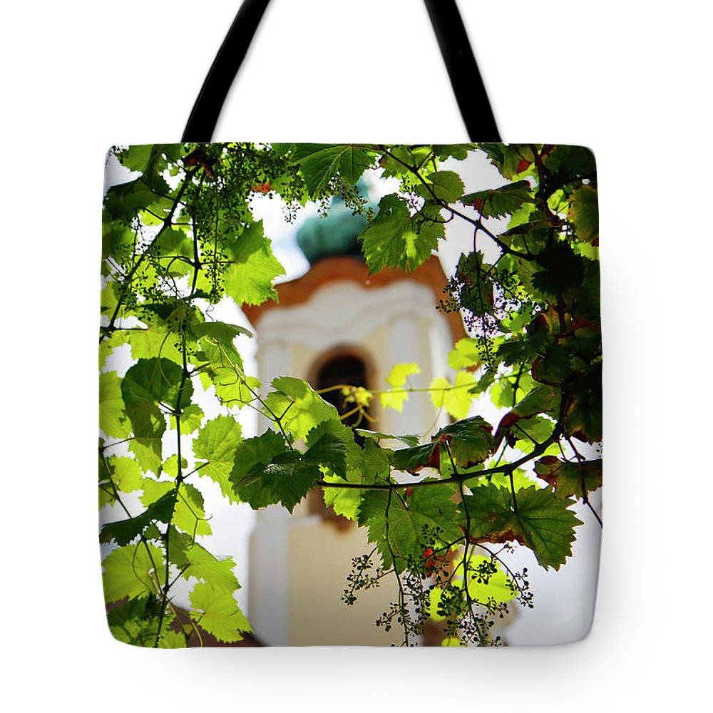Kg Tote Bag featuring the photograph Framed Steeple by KG Thienemann