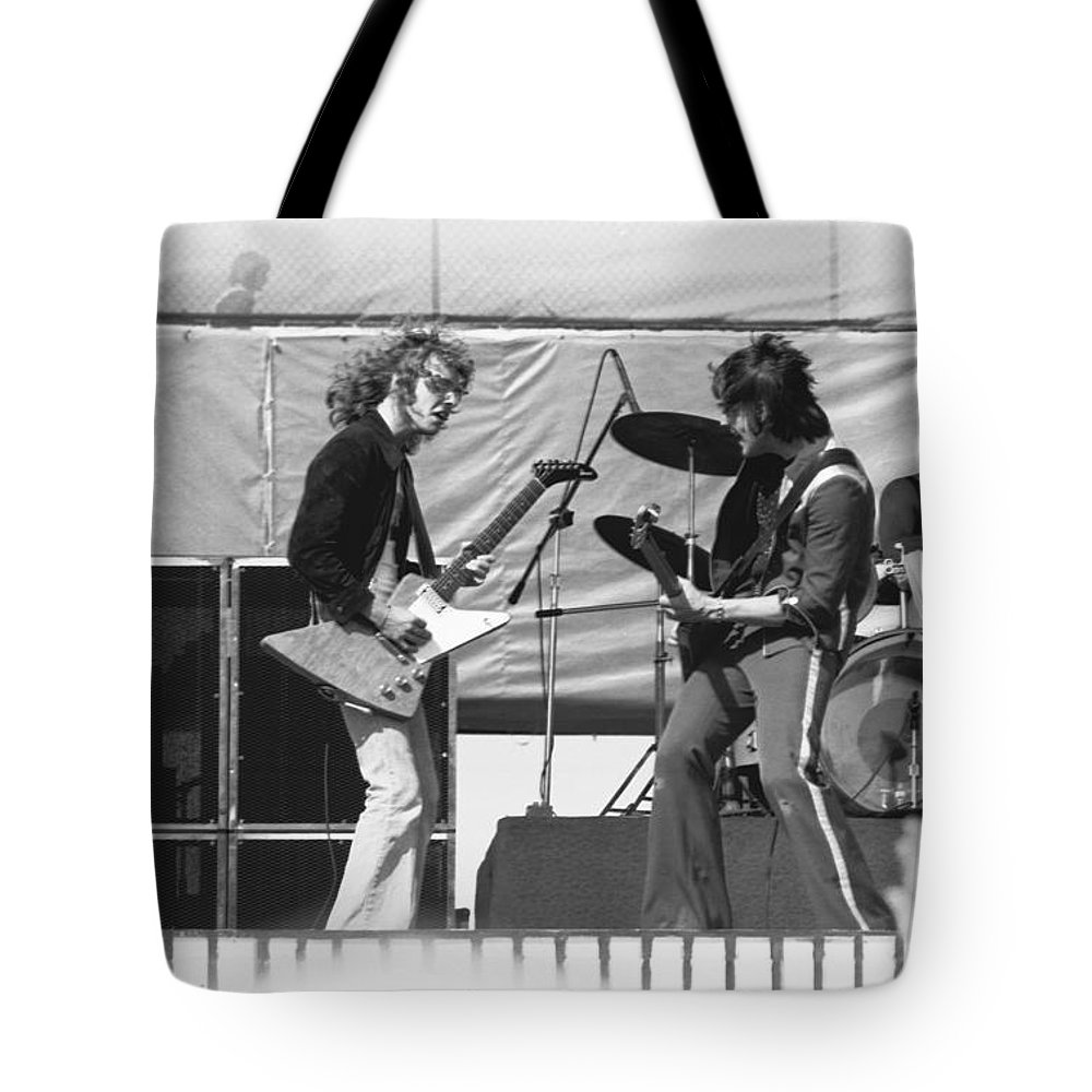Peter Frampton Tote Bag featuring the photograph Jamming In Oakland 1976 by Ben Upham