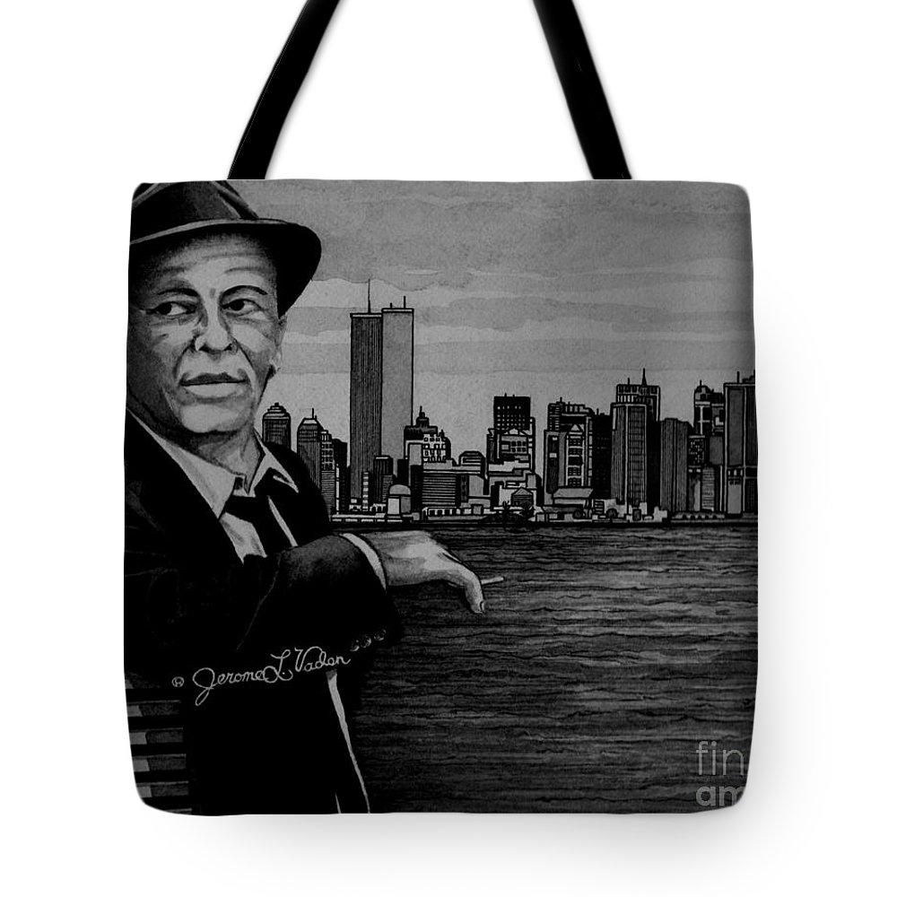 American Singer Tote Bag featuring the painting Frank Sinatra by JL Vaden
