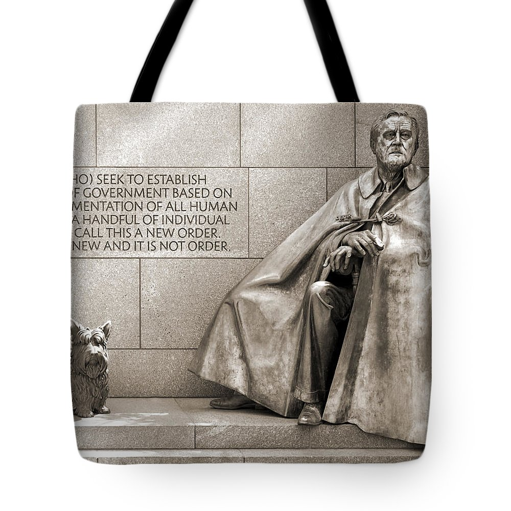 Landmarks Tote Bag featuring the photograph Franklin Delano Roosevelt Memorial - Bits And Pieces 7 by Mike McGlothlen