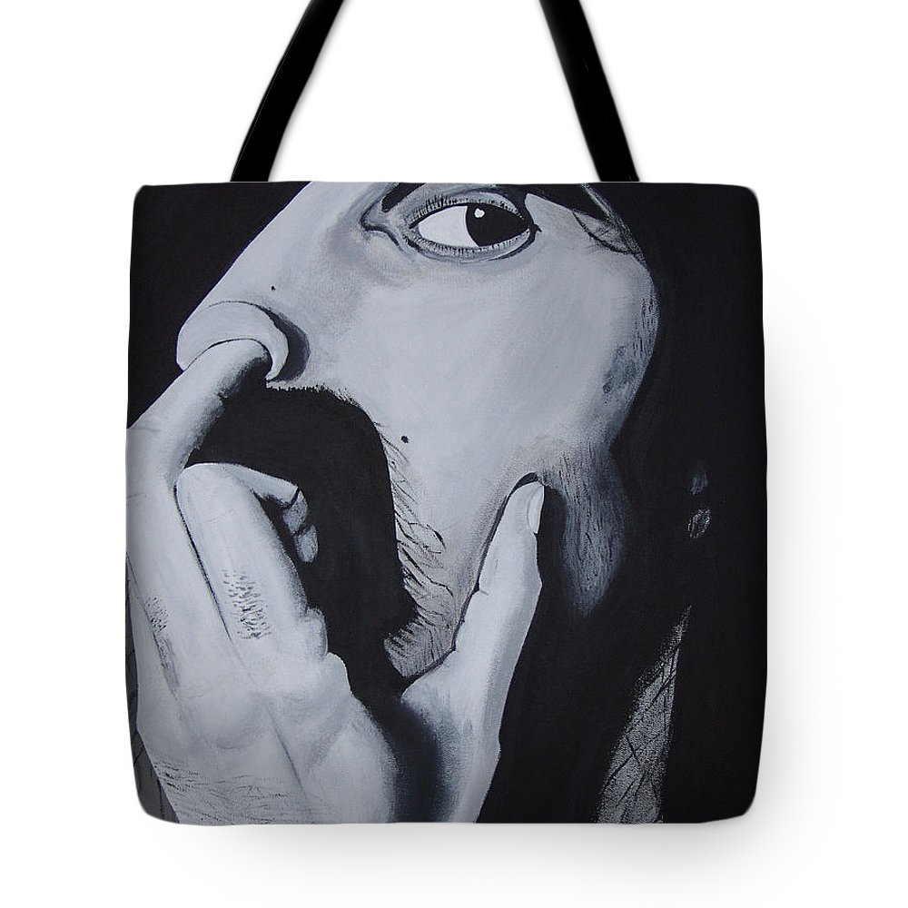 Black And White Tote Bag featuring the painting Franklyz by Dean Stephens