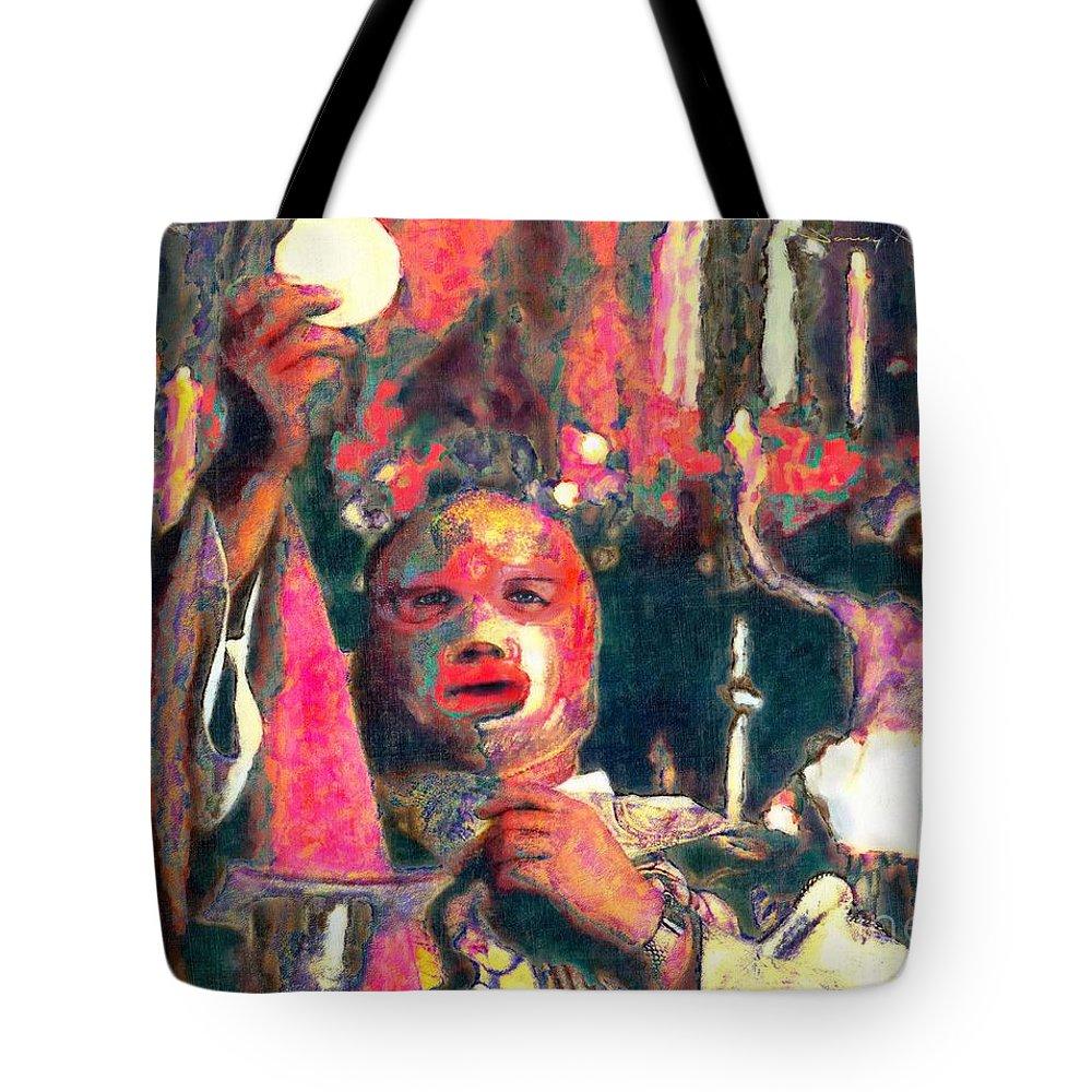 Religion Tote Bag featuring the digital art Fray Tormenta by Nancy Almazan