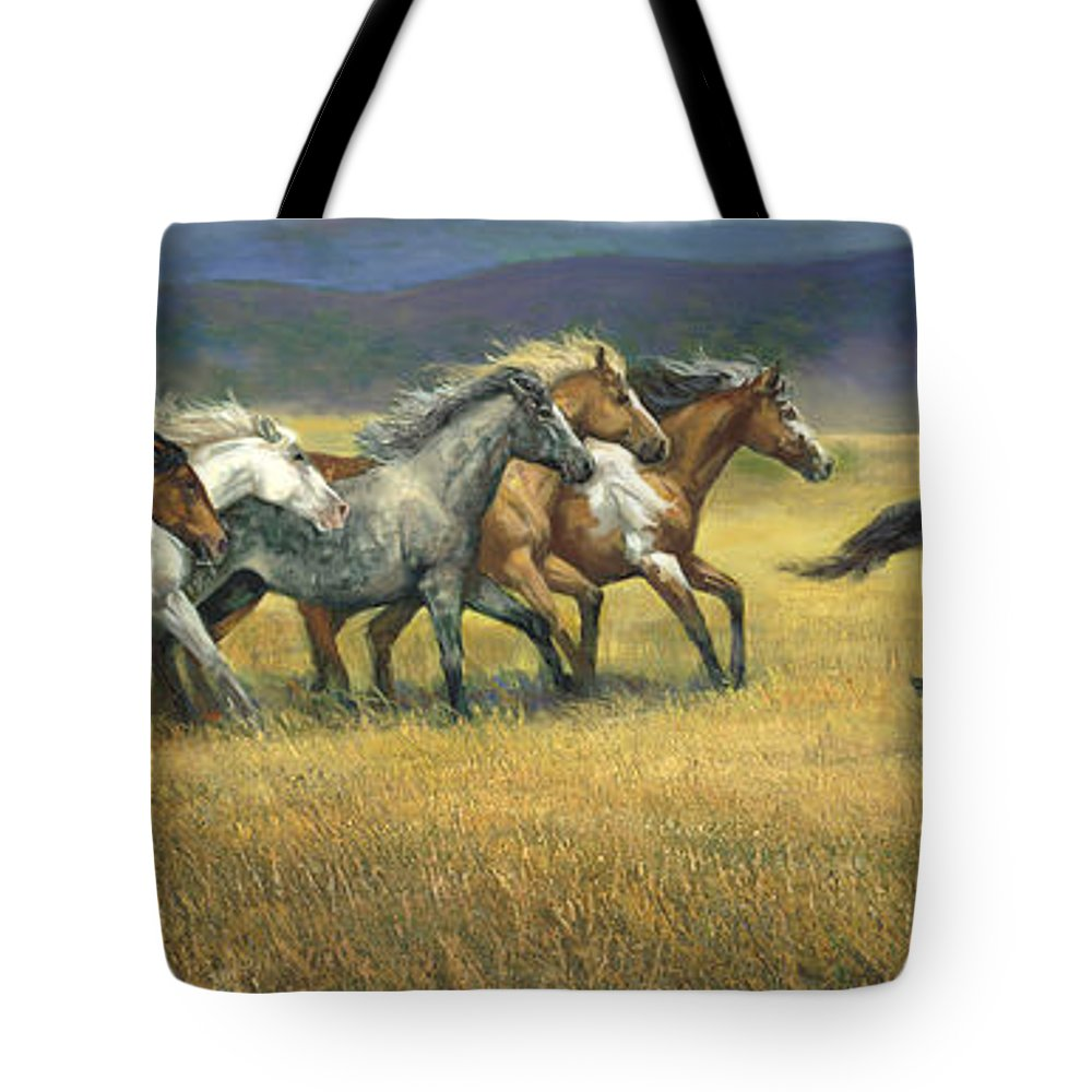 Horse Tote Bag featuring the painting Free And Wild by Laurie Snow Hein