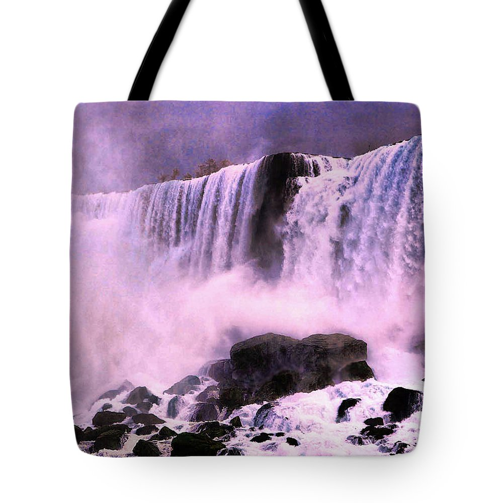Niagra Falls Tote Bag featuring the photograph Free Falls Oil Effect Image by Tom Prendergast