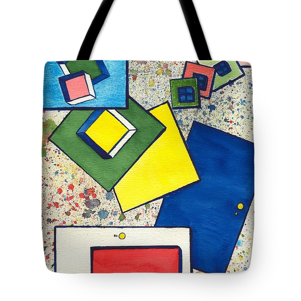 Abstract Tote Bag featuring the painting Considering Solutions by Linda Wimberly