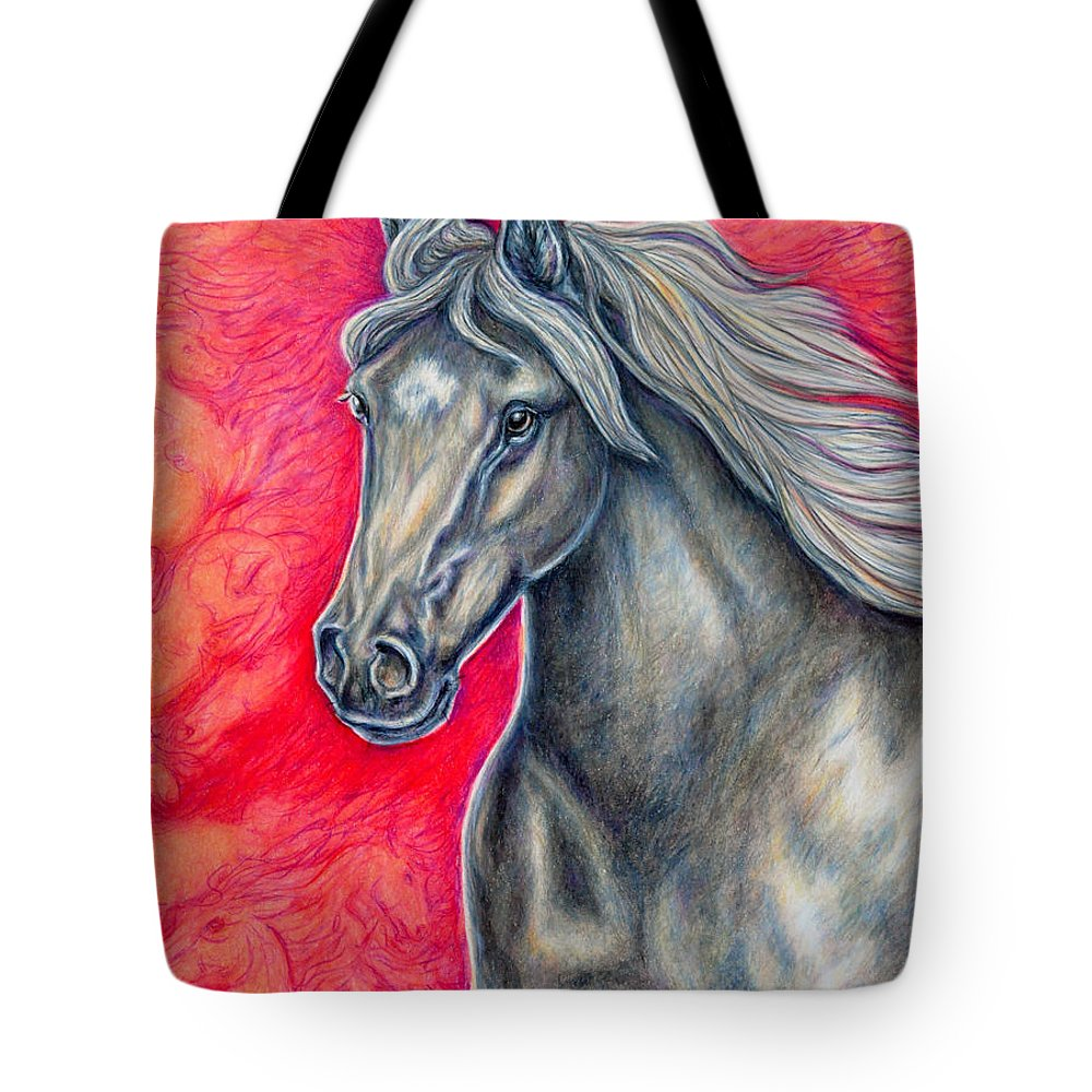 Animal Horse Nature Stallion Bronze Red Tote Bag featuring the painting Free Spirit by Gail Butler