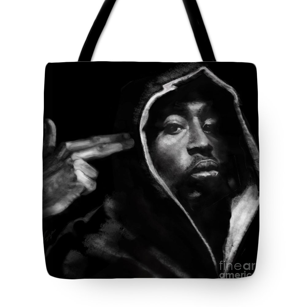 2 Pac Tote Bag featuring the painting Free Will - 2 Pac by Reggie Duffie