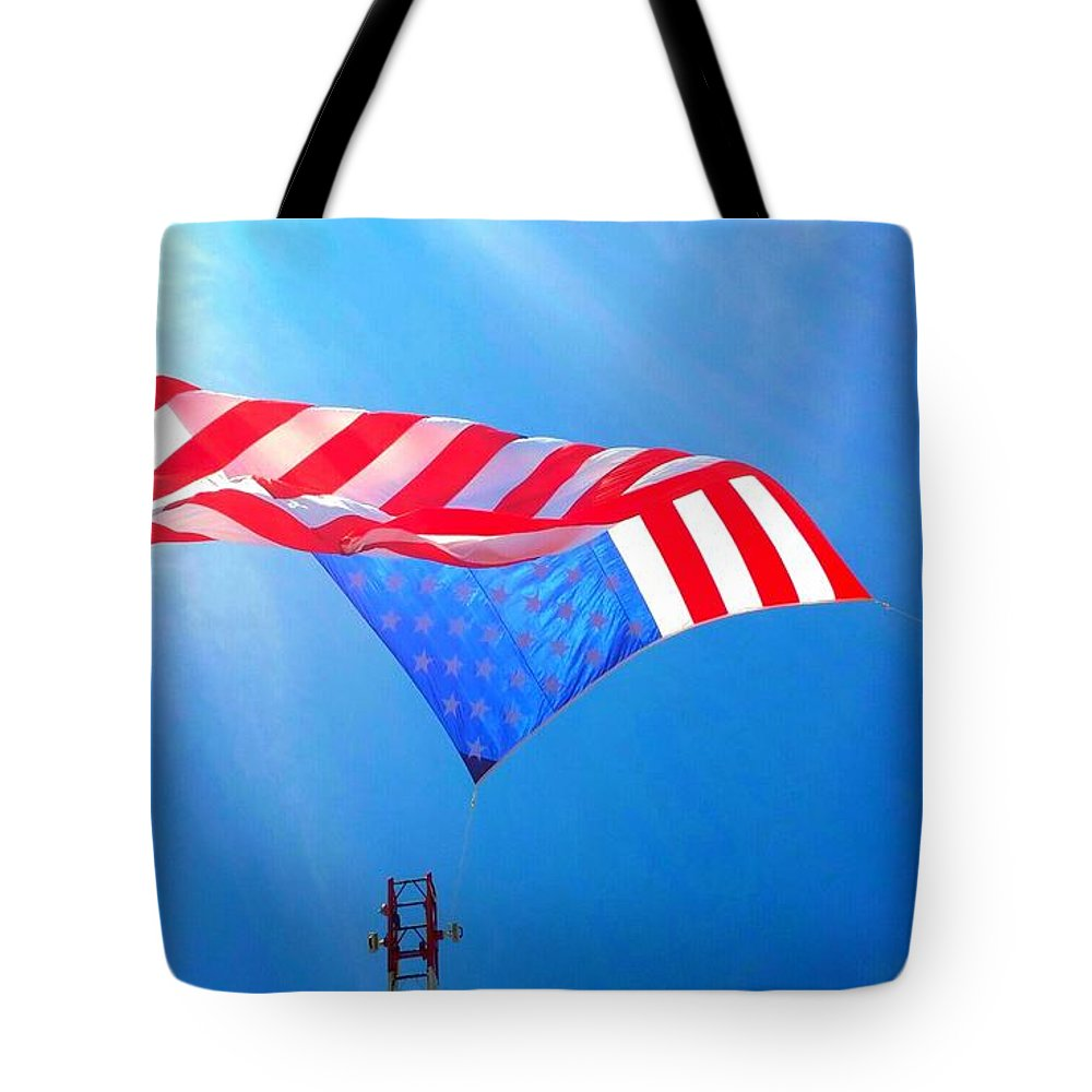 Patriotic Tote Bag featuring the photograph Freedom In Flight by Lkb
