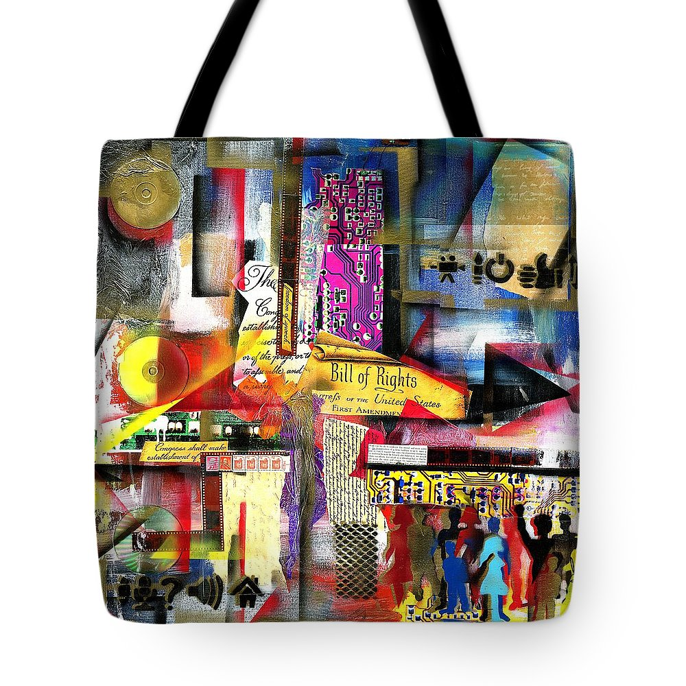 Everett Spruill Tote Bag featuring the painting Freedom of Speech 3 by Everett Spruill