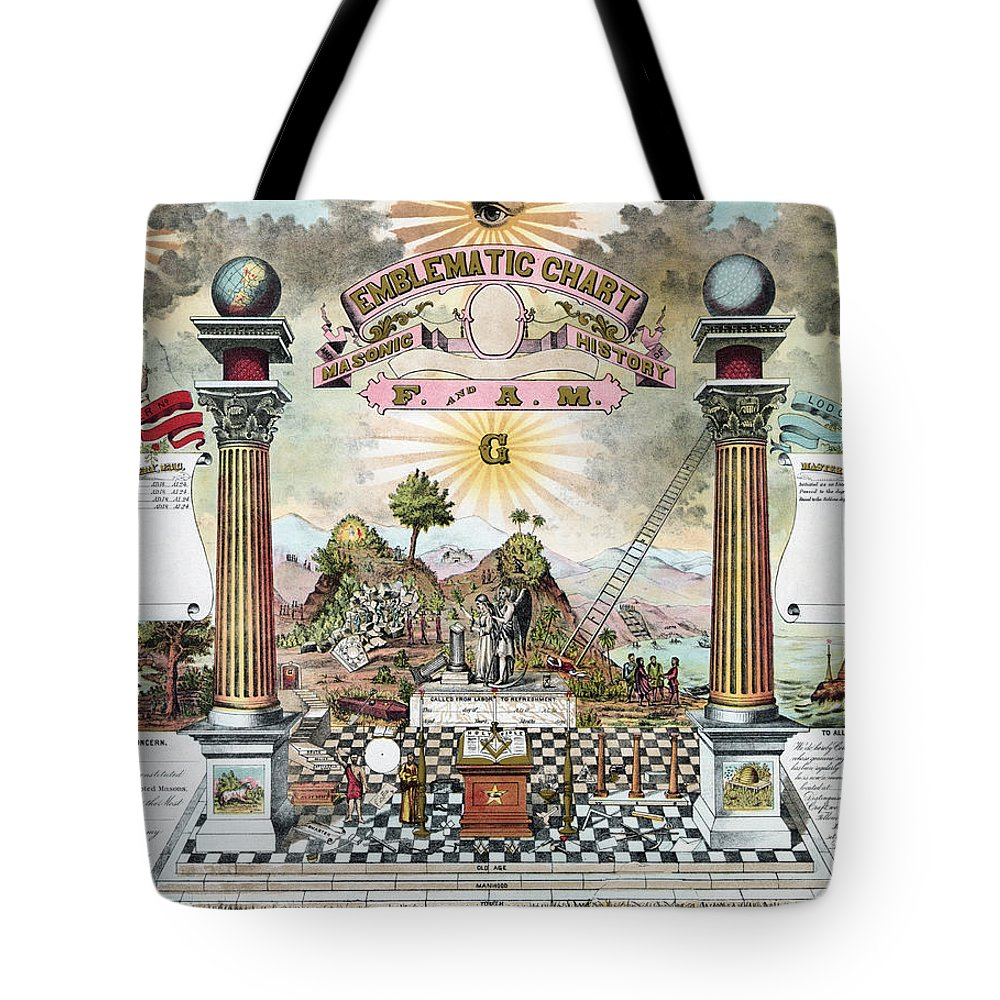 1870s Tote Bag featuring the photograph Freemason Emblematic Chart by Granger