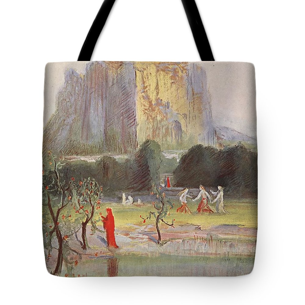 Myth Tote Bag featuring the drawing Freias Garden, 1906 by Hermann Hendrich