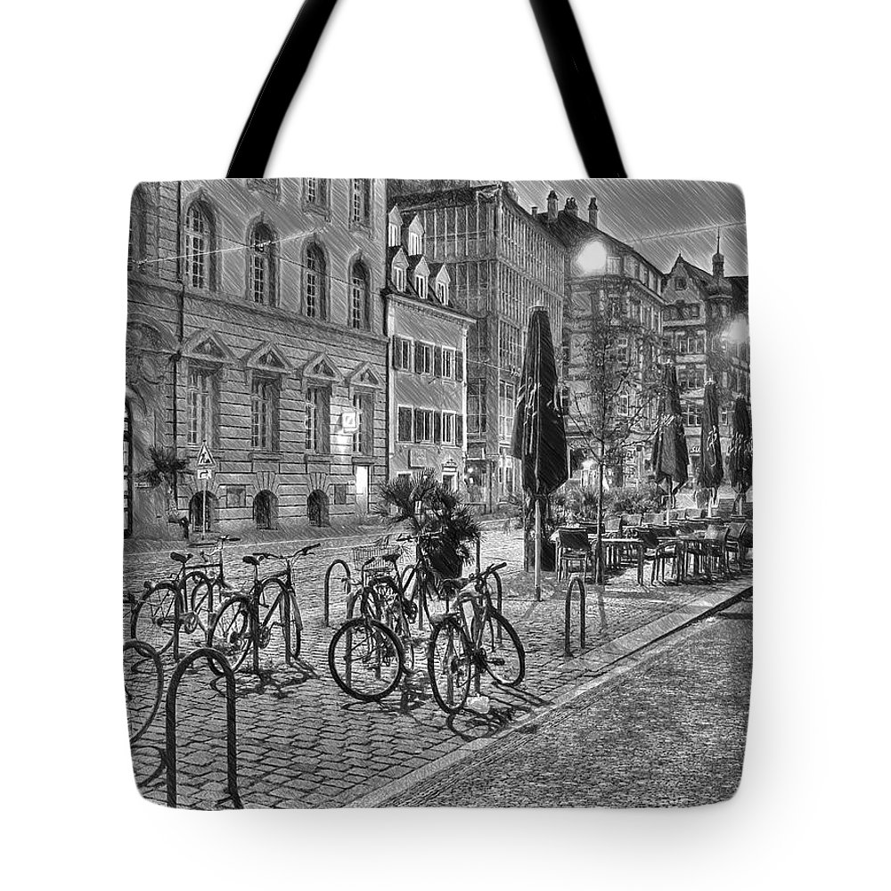 Architecture Tote Bag featuring the painting Freiburg Road Homes by Dean Wittle