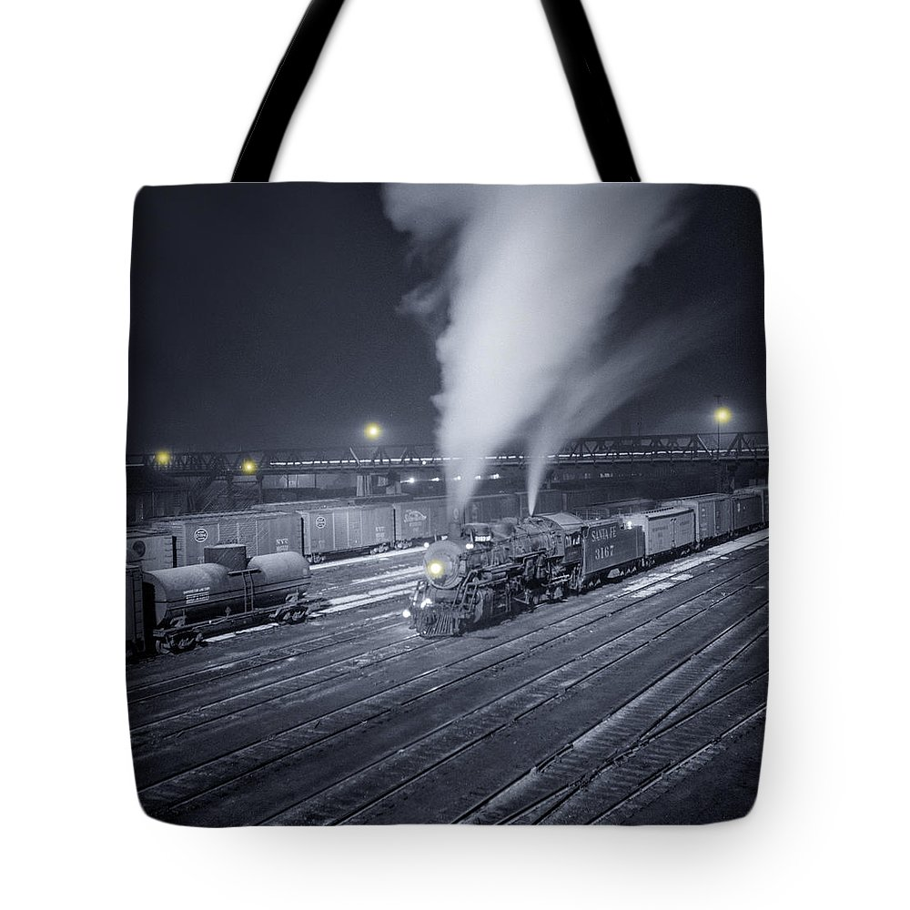 Train Tote Bag featuring the photograph Freight Train About To Leave The Atchison Circa 1943 by Aged Pixel