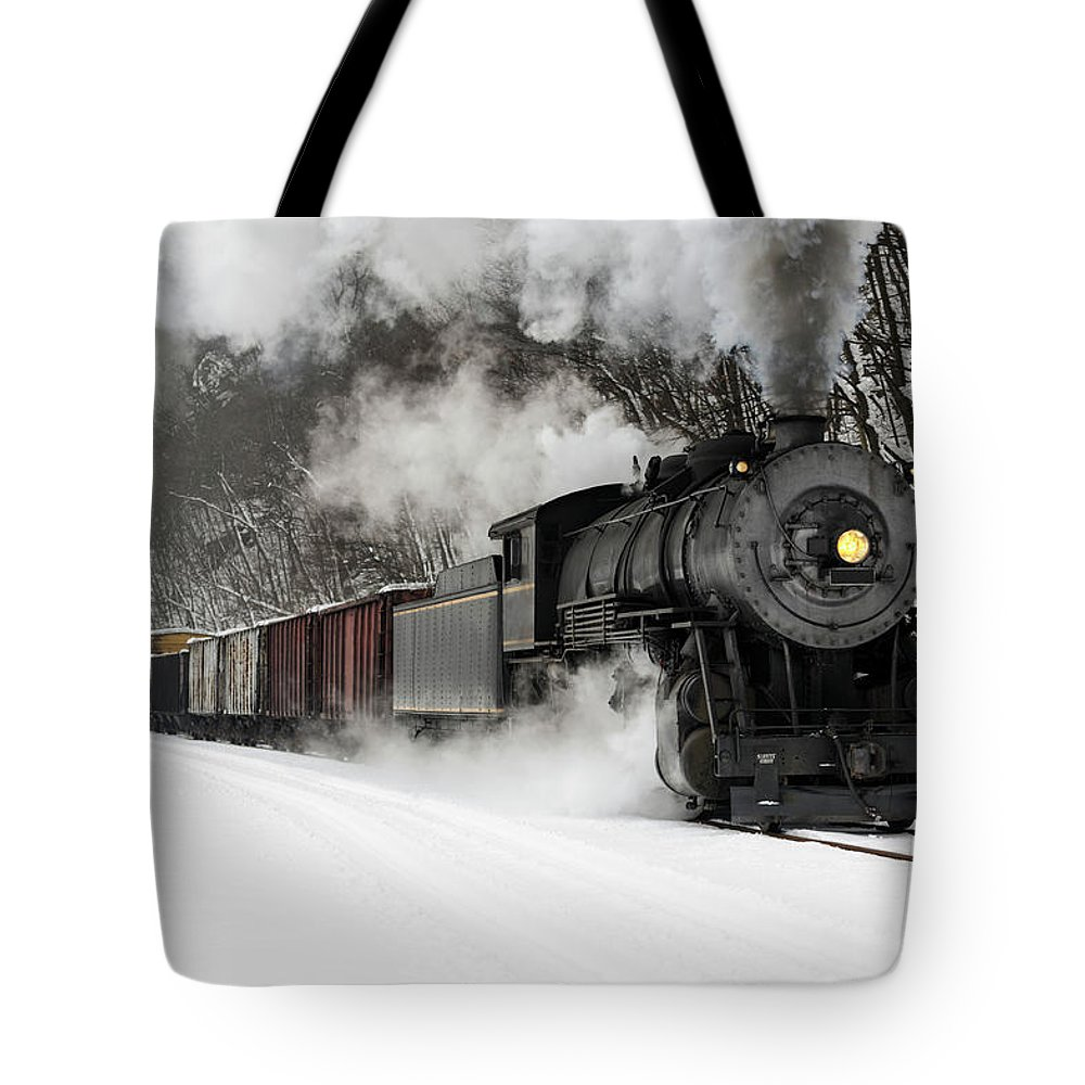 Scenics Tote Bag featuring the photograph Freight Train With Steam Locomotive by Catnap72