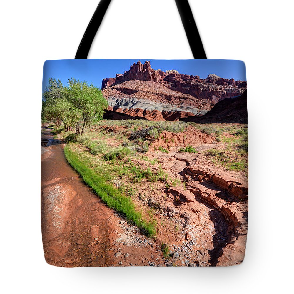 Utah Tote Bag featuring the photograph Sulphur Creek Flows Through Capitol Reef National Park by Gary Whitton