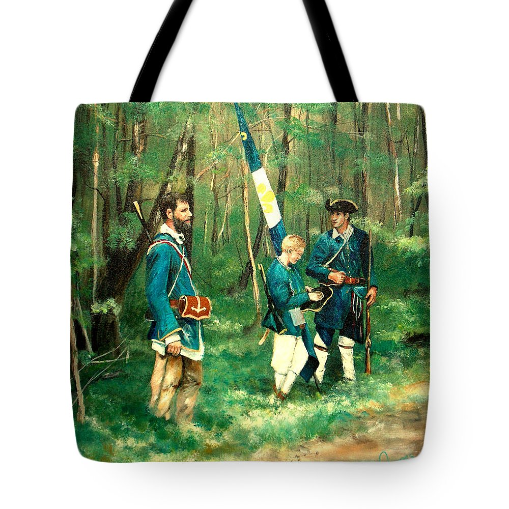 French & Indian War Tote Bag featuring the painting French And Indian War by C Keith Jones