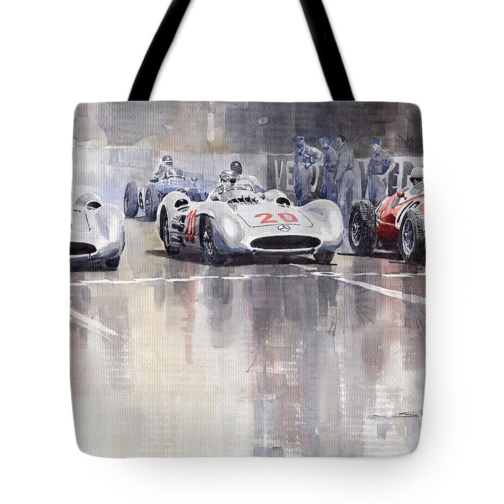 Watercolour Tote Bag featuring the painting French Gp 1954 Mb W 196 Meserati 250 F by Yuriy Shevchuk