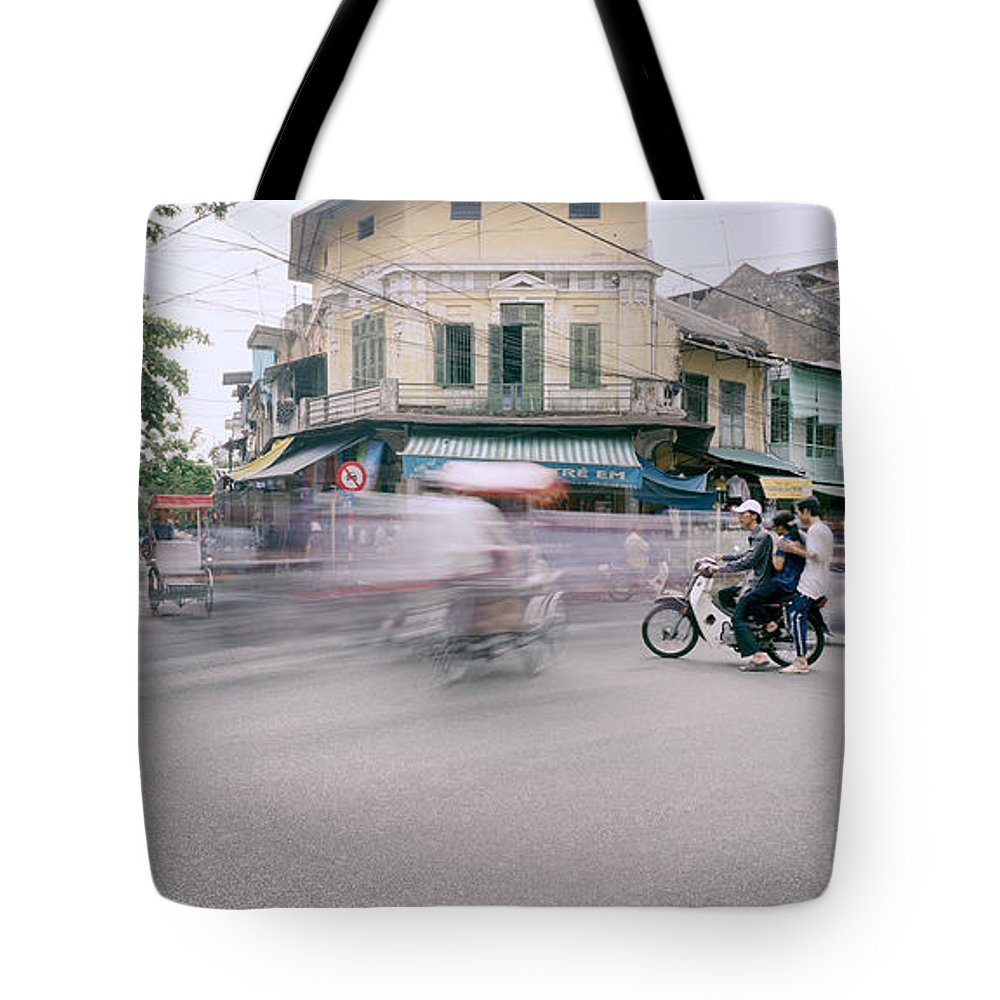 Asia Tote Bag featuring the photograph Frenetic Hanoi by Shaun Higson